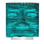 In Your Face In Neagtive Turquois Shower Curtain