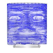 In Your Face In Negative Blue Shower Curtain