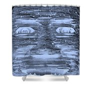 In Your Face In Negative Cyan Shower Curtain