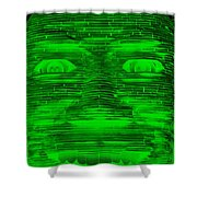 In Your Face In Negative Green Shower Curtain