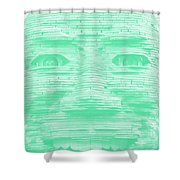 In Your Face In Negative Light Green Shower Curtain