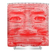 In Your Face In Negative Light Red Shower Curtain