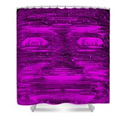 In Your Face In Negative Purple Shower Curtain