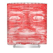 In Your Face In Negative Red Shower Curtain