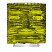 In Your Face In Negative Yellow Shower Curtain