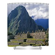 Inca Structures Stand Below Mount Shower Curtain