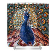 India: Peacock Shower Curtain