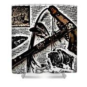 Indian Buffalo Jawbone Tomahawk Shower Curtain