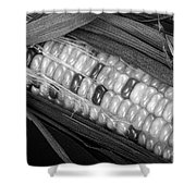 Indian Corn Black And White Shower Curtain