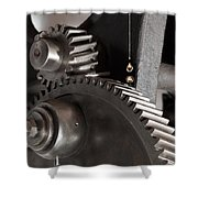 Industrial Gears Whith Oil Drops Shower Curtain