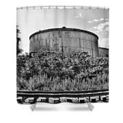 Industrial Tank In Black And White Shower Curtain