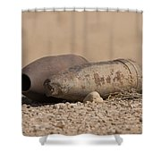 Inert Artillery Rounds Litter Camp Shower Curtain