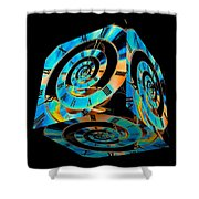 Infinity Time Cube On Black Shower Curtain
