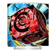 Infinity Time Cube Red On Blue Shower Curtain