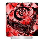 Infinity Time Cube Red Shower Curtain