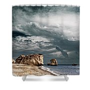 Infrared Aphrodite Rock Shower Curtain