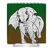 Inked Elephant In Green And Brown Shower Curtain