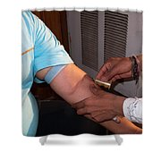 Inserting The First Part Of The Blood Test Collection Apparatus Shower Curtain