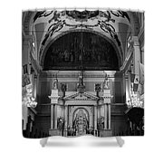 Inside St Louis Cathedral Jackson Square French Quarter New Orleans Black And White Shower Curtain