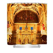 Inside St Louis Cathedral Jackson Square French Quarter New Orleans Film Grain Digital Art Shower Curtain