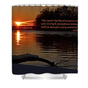 Inspirational Sunset With Quote Shower Curtain