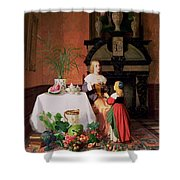 Interior With Figures And Fruit Shower Curtain
