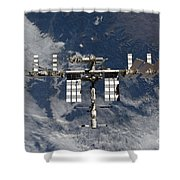 International Space Station Backgropped Shower Curtain
