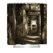 Into The Butterfly Garden Sepia Shower Curtain