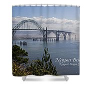 Into The Fog At Newport With Text Shower Curtain