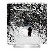 Into The Snowy Forest Shower Curtain