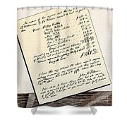 Invoice Of A Sale Of Black Slaves Shower Curtain
