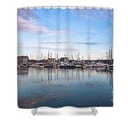 Ipswich Marina Dusk Shower Curtain