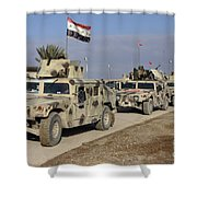 Iraqi Army Soldiers Aboard M1114 Humvee Shower Curtain