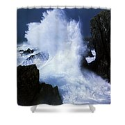Ireland, Waves Crashing On Rocks Shower Curtain