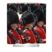 Irish Guards March Pass During The Last Shower Curtain by Andrew Chittock