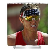 Ironman On The Run Shower Curtain by Bob Christopher