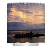 Island At Sunset Shower Curtain