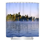Island In Lake With Morning Fog Shower Curtain