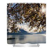 Islands On A Lake In Autumn Shower Curtain