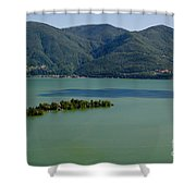 Islands On An Alpine Lake With A Shadow Shower Curtain