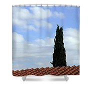 Italian Cyress And Red Tile Roof Rome Italy Shower Curtain