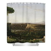 Italian Scene Composition Shower Curtain by Thomas Cole