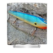 J And J Flop Tail Vintage Saltwater Fishing Lure - Blue Shower Curtain