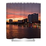 Jacksonville Skyline Night Shower Curtain