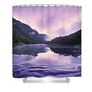 Jacques-cartier River And Mist At Dawn Shower Curtain