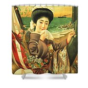 Japan Steamship Poster  1914 Shower Curtain