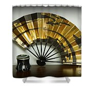 Japanese Fan And Pot Shower Curtain
