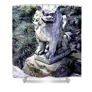 Japanese Garden Lion Dog Statue 1 Shower Curtain