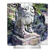 Japanese Garden Lion Dog Statue 2 Shower Curtain