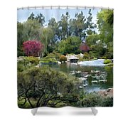 Japanese Garden Panorama 1 Shower Curtain